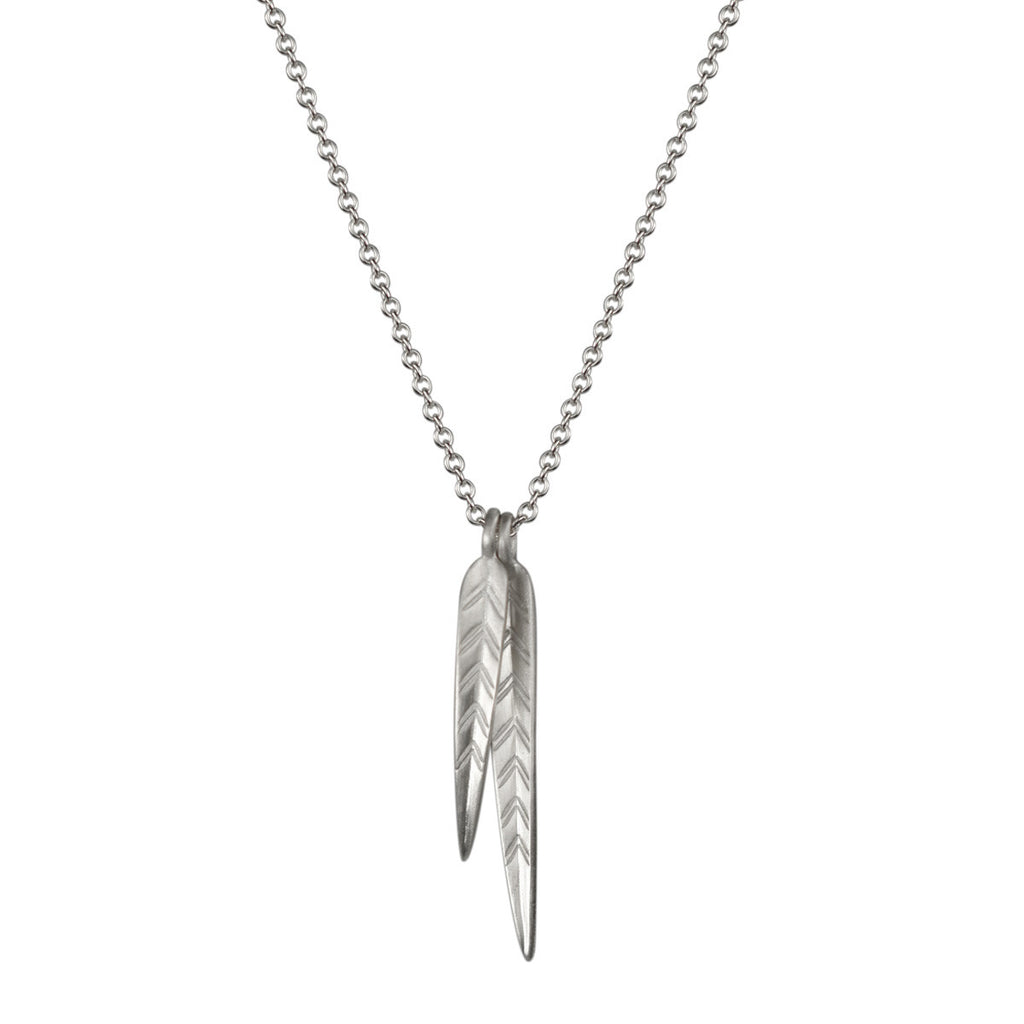 Sterling Silver Double Medium  Leaf Pendant
