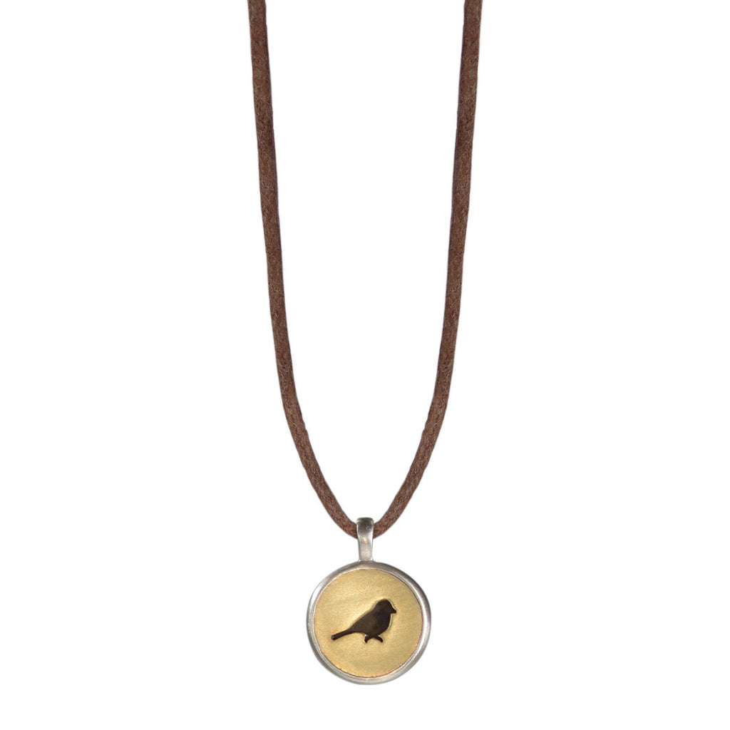 Sterling Silver & 10K Gold Bird Cut Out Pendant on Cord