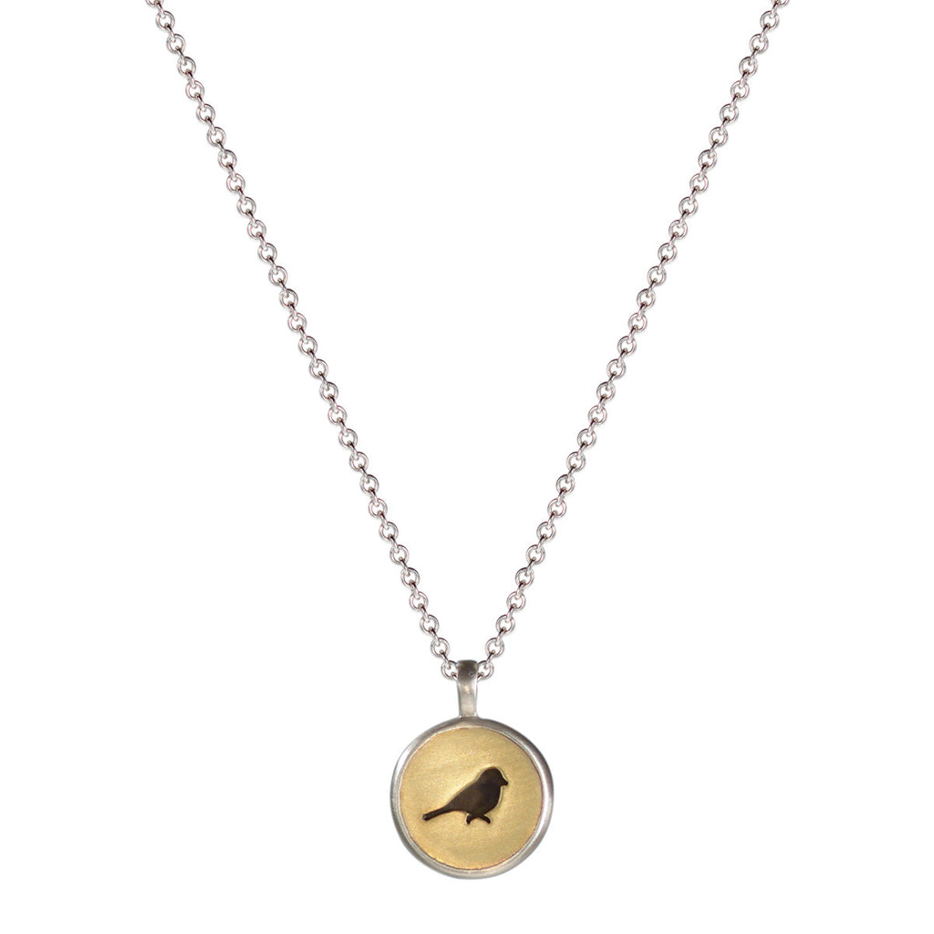 Sterling Silver & 10K Gold Bird Cut Out Pendant