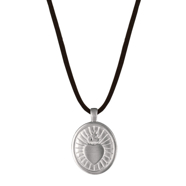 Men's Sterling Silver Large Charity Pendant on Black Cord