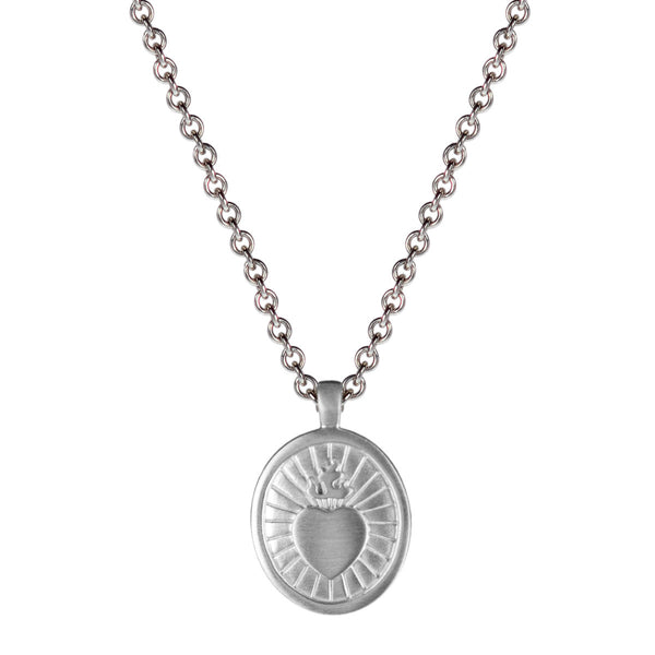 Men's Sterling Silver Large Charity Pendant