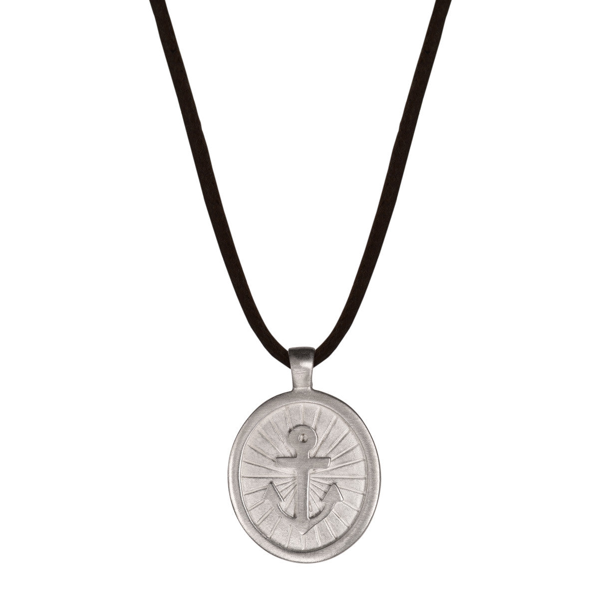 Men's Sterling Silver Large Hope Pendant on Black Cord