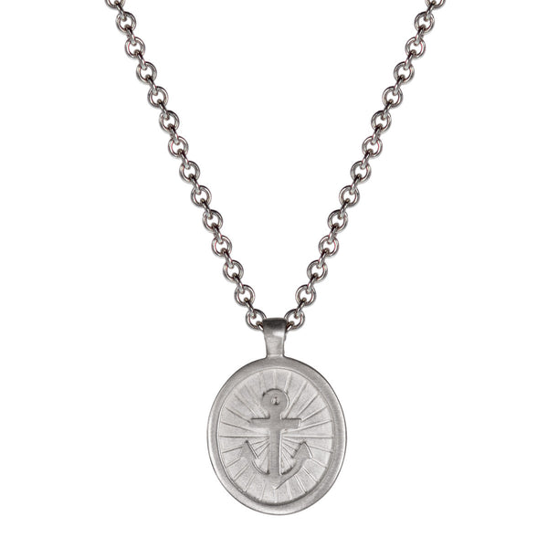 Men's Sterling Silver Large Hope Pendant on Chain