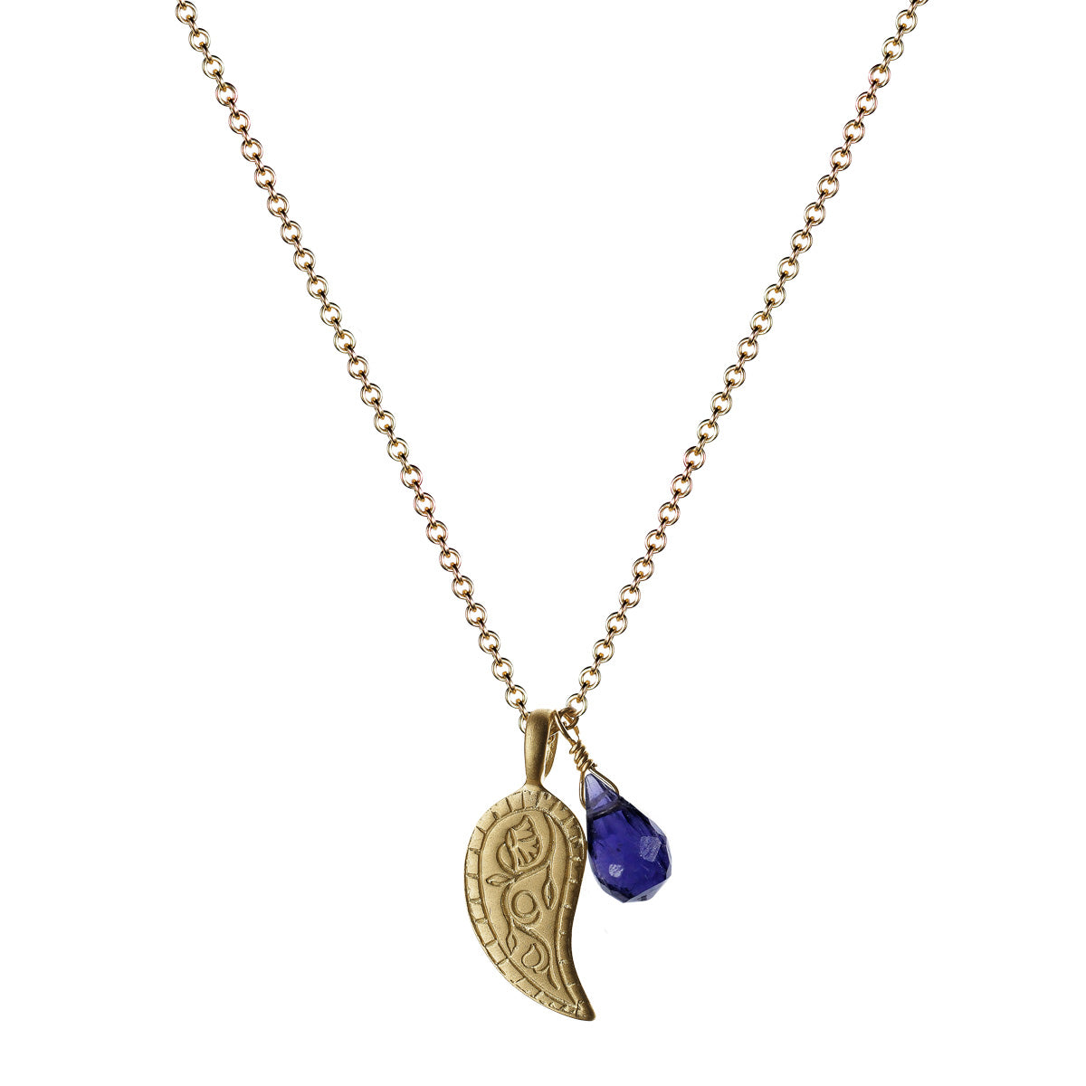 10K Gold Paisley Trinket Pendant with Iolite Bead