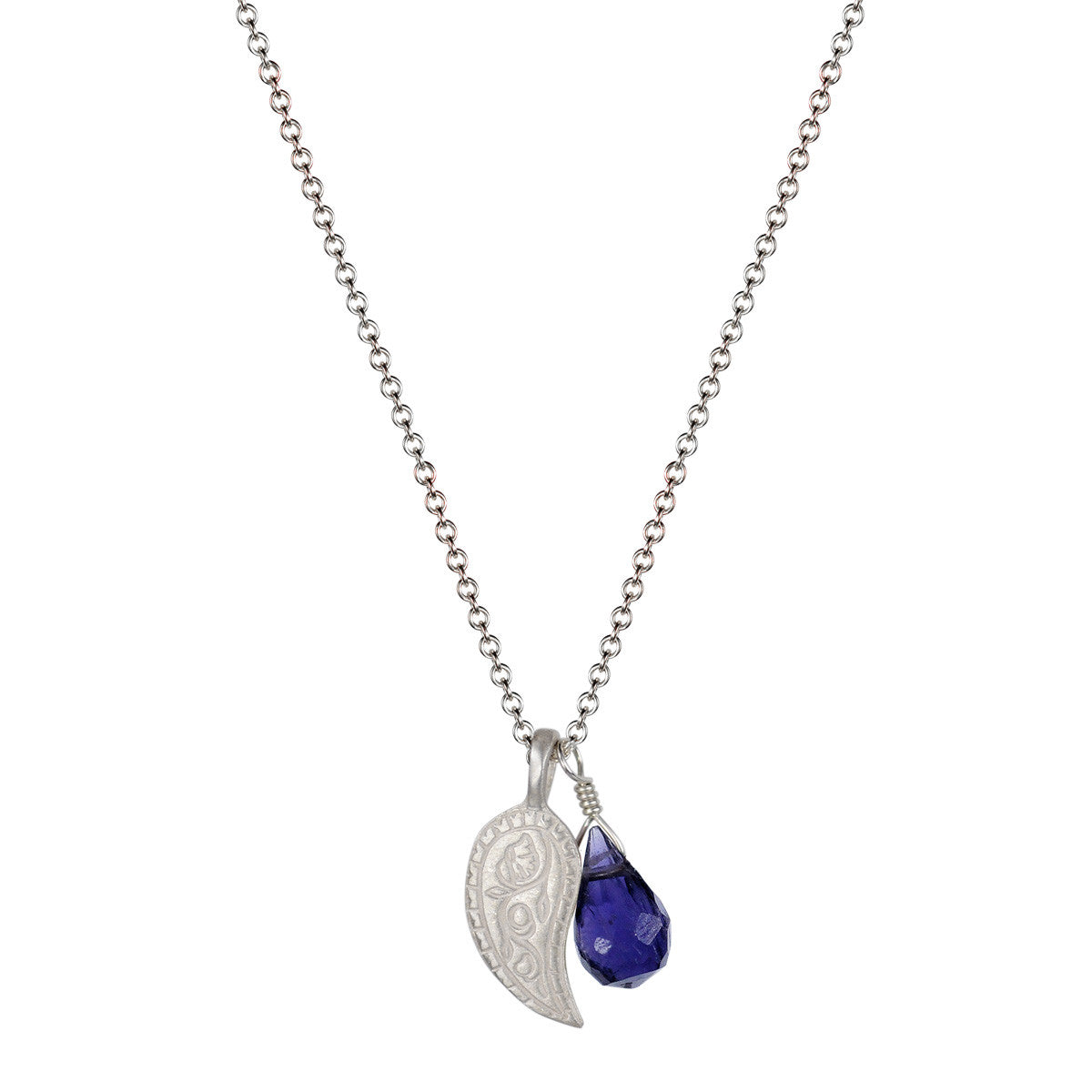 Sterling Silver Paisley Trinket Pendant with Iolite bead