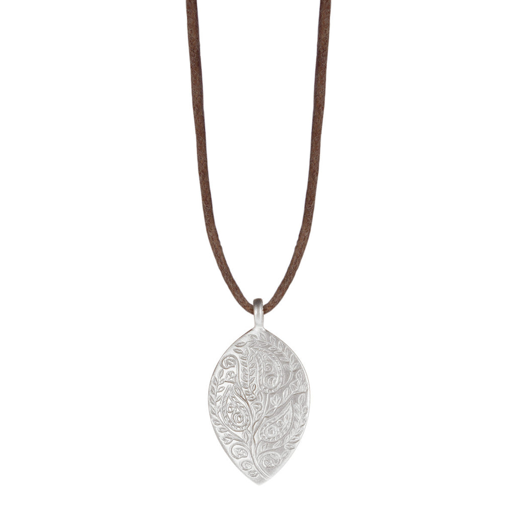Sterling Silver Medium Paisley Pendant on Natural Cord