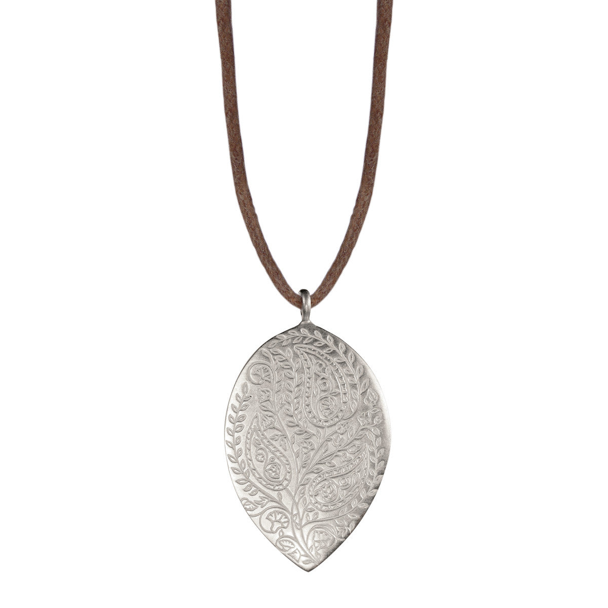 Sterling Silver Large Paisley Pendant on Natural Cord