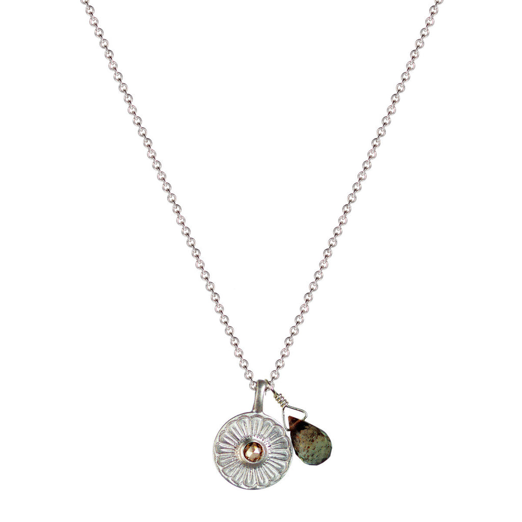 Sterling Silver Flower Pendant with Brown Diamond and Andalusite Bead
