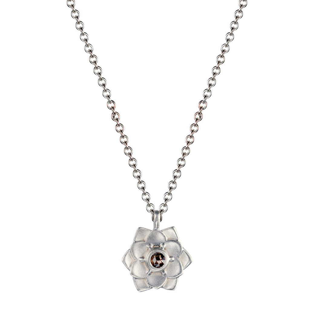 Sterling Silver Lotus Flower Pendant with Brown Diamond