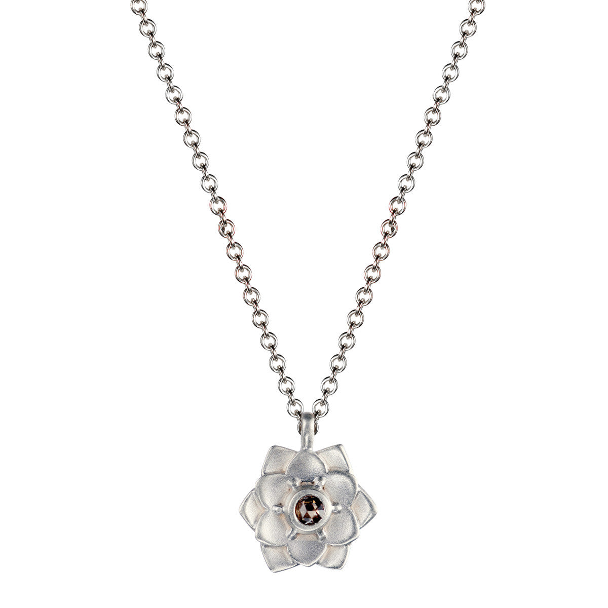 Sterling silver lotus flower pendant with brown diamond mero sterling silver lotus flower pendant with brown diamond izmirmasajfo