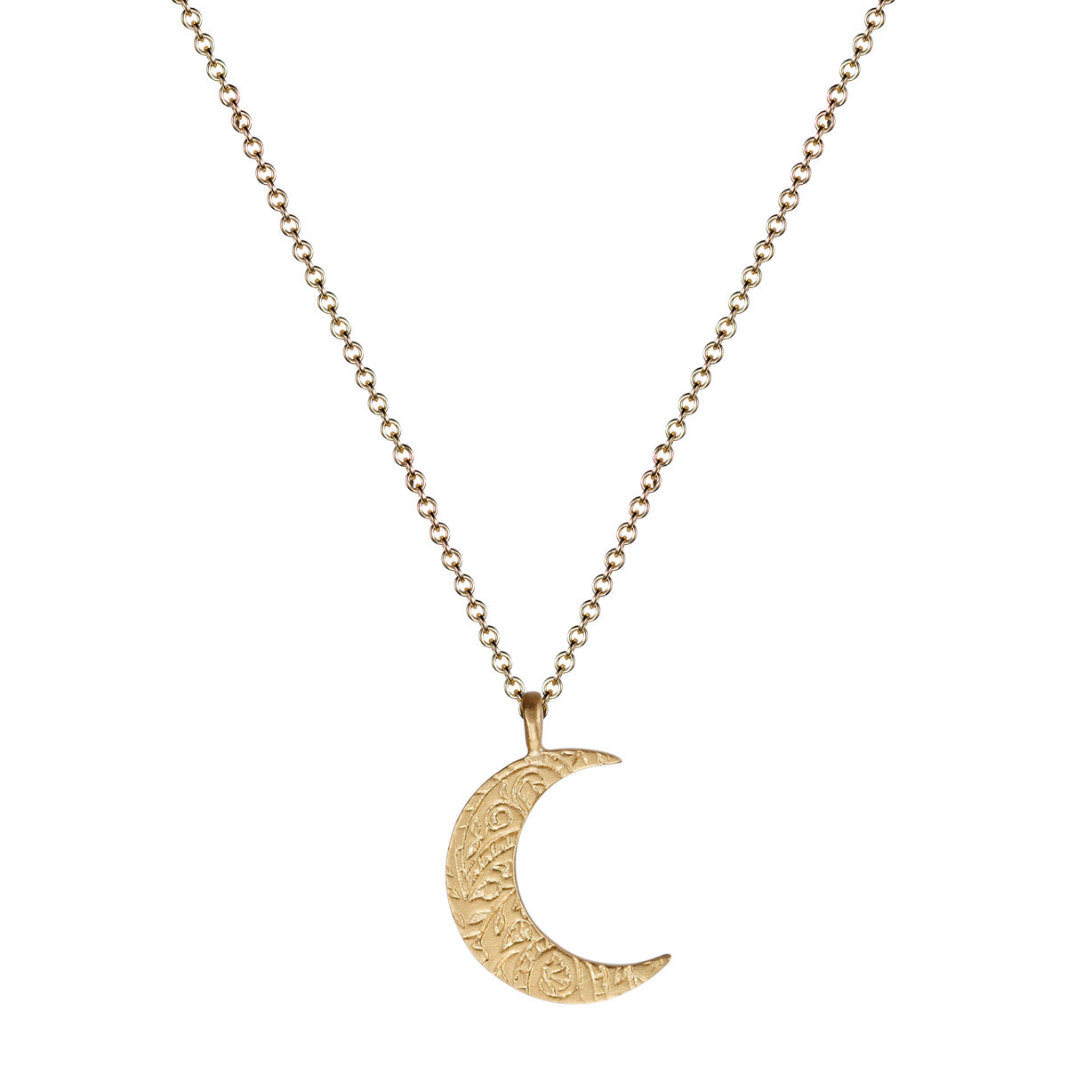 10K Gold Small Paisley Moon Pendant