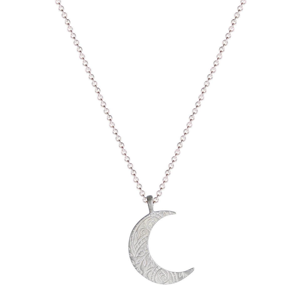 Sterling Silver Small Paisley Moon Pendant