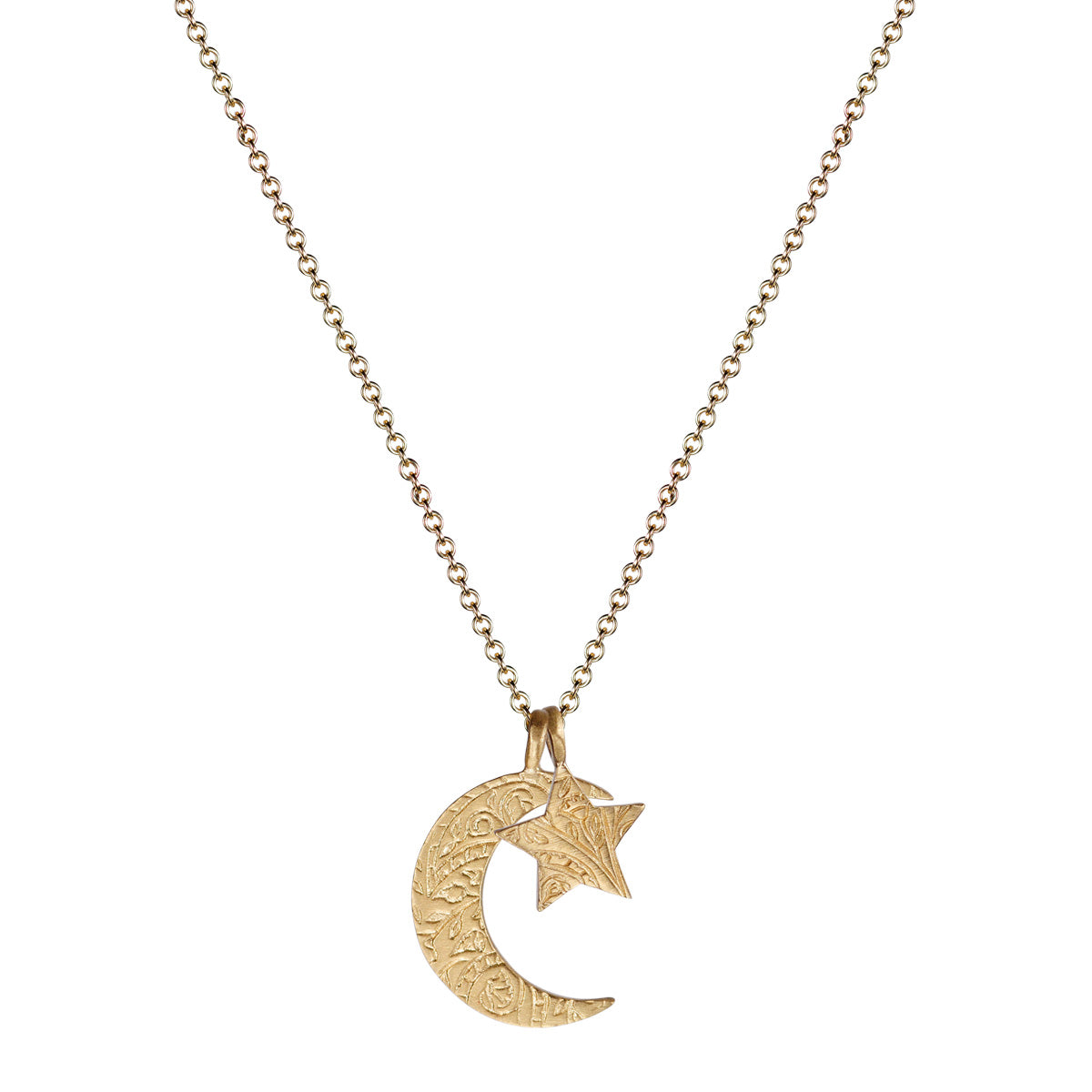 10K Gold Small Paisley Moon & Star Charm Pendant