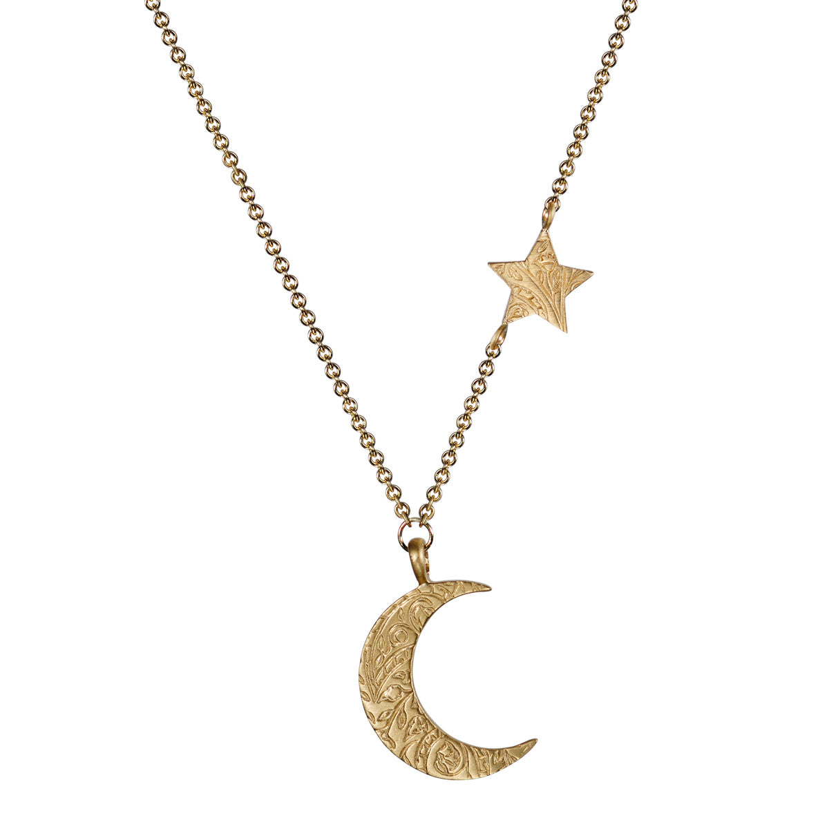 10K Gold Small Paisley Moon and Star Pendant