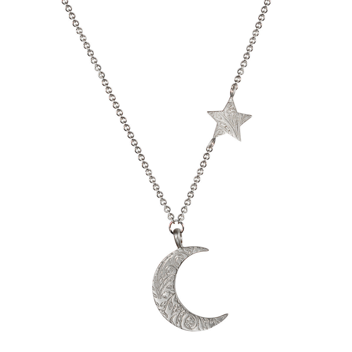 Sterling Silver Small Paisley Moon and Star Pendant