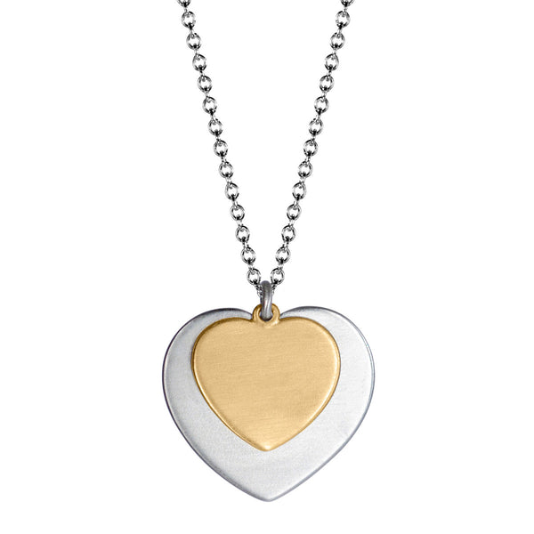 Sterling Silver & 10K Gold Heart on Heart Pendant