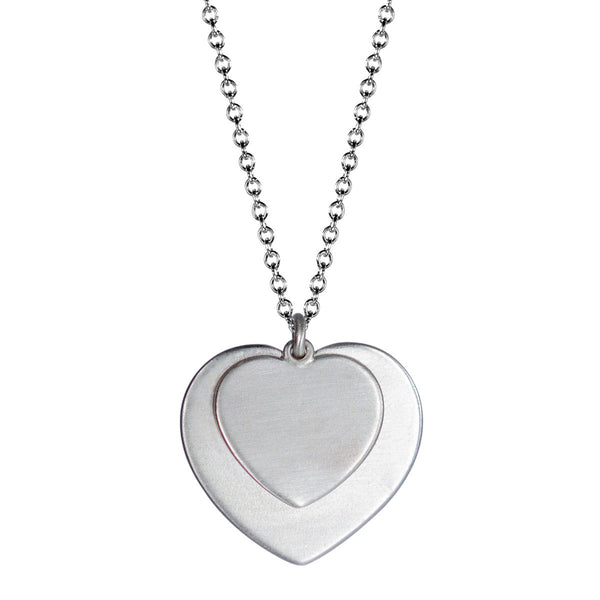 Sterling Silver Heart on Heart Pendant