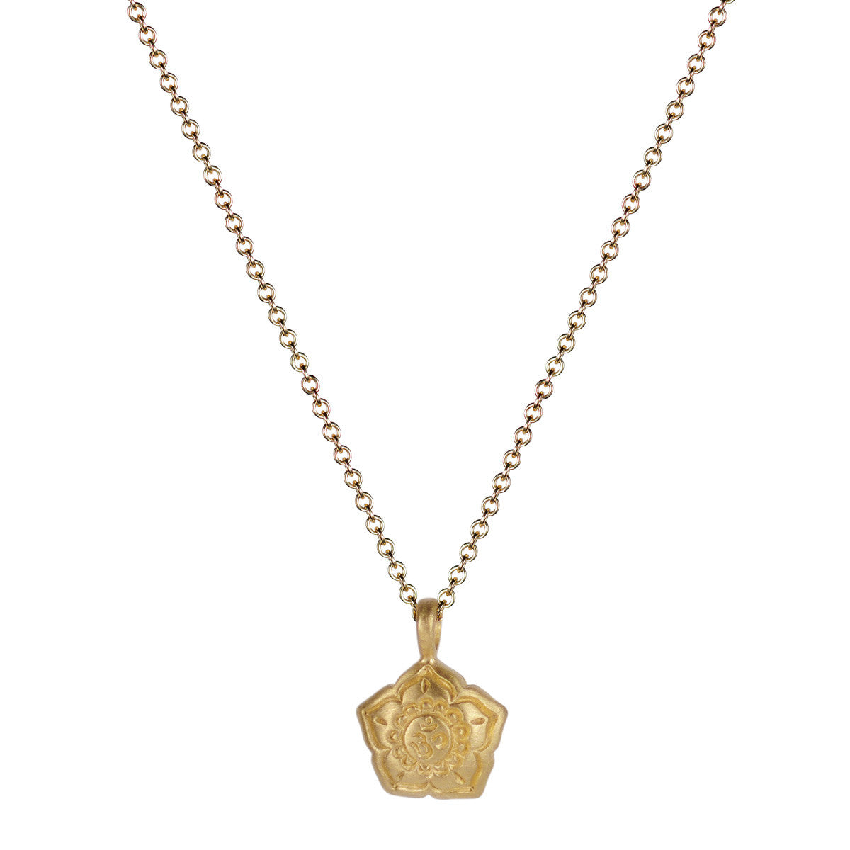 10K Gold Small Om Flower Pendant