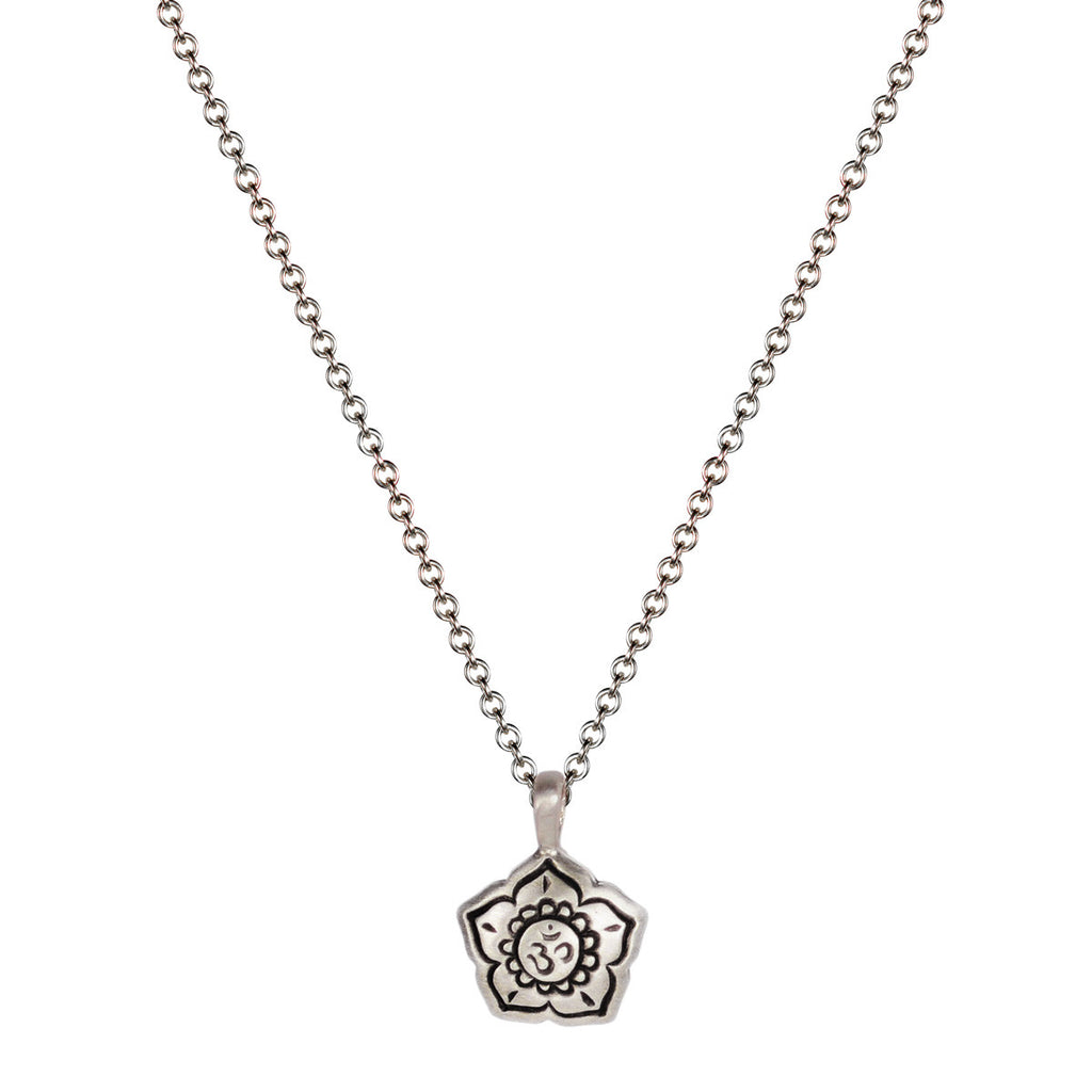 Sterling Silver Small Om Flower Pendant