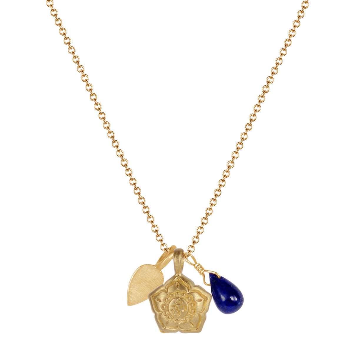 10K Gold Om Flower Trinket Pendant with Lapis