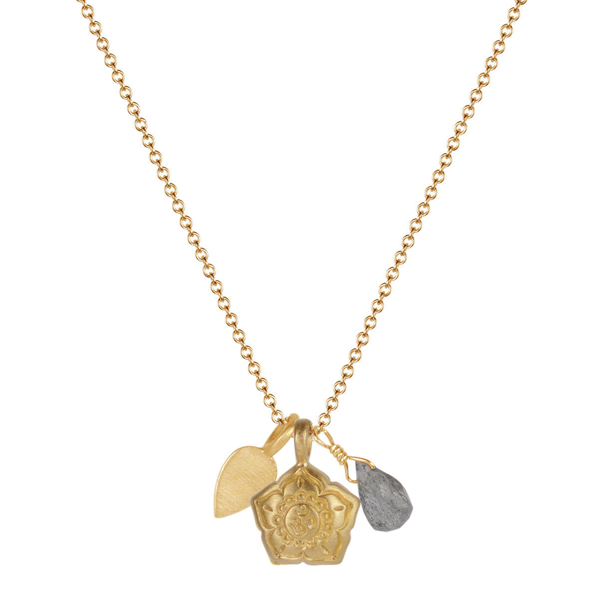 10K Gold Om Flower Trinket Pendant with Labradorite