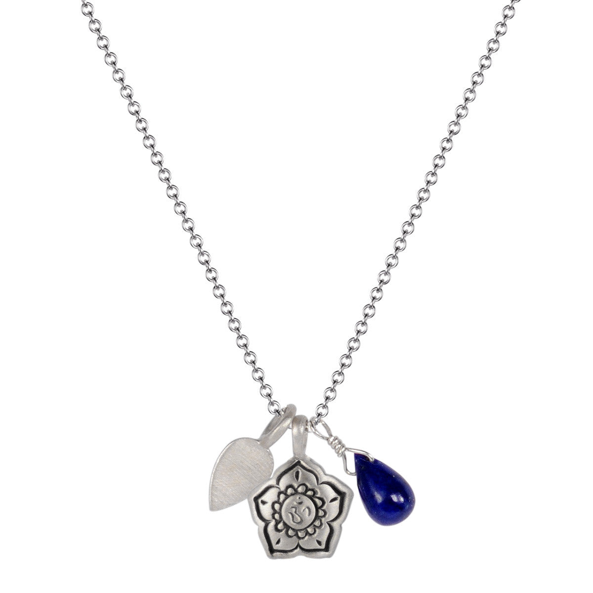 Sterling Silver Om Flower Trinket with Lapis