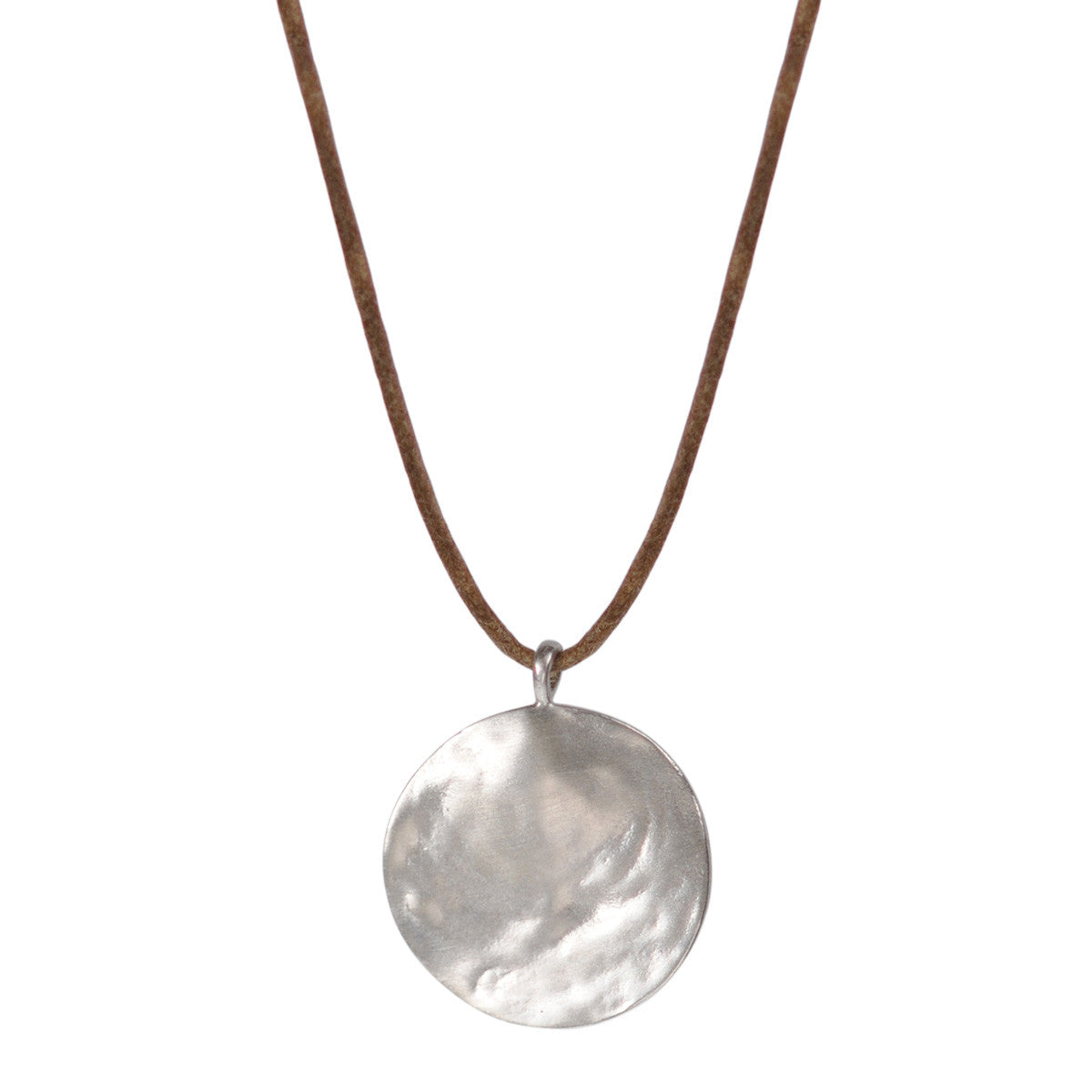 Sterling Silver Medium Shell Disc Pendant on Natural Cord