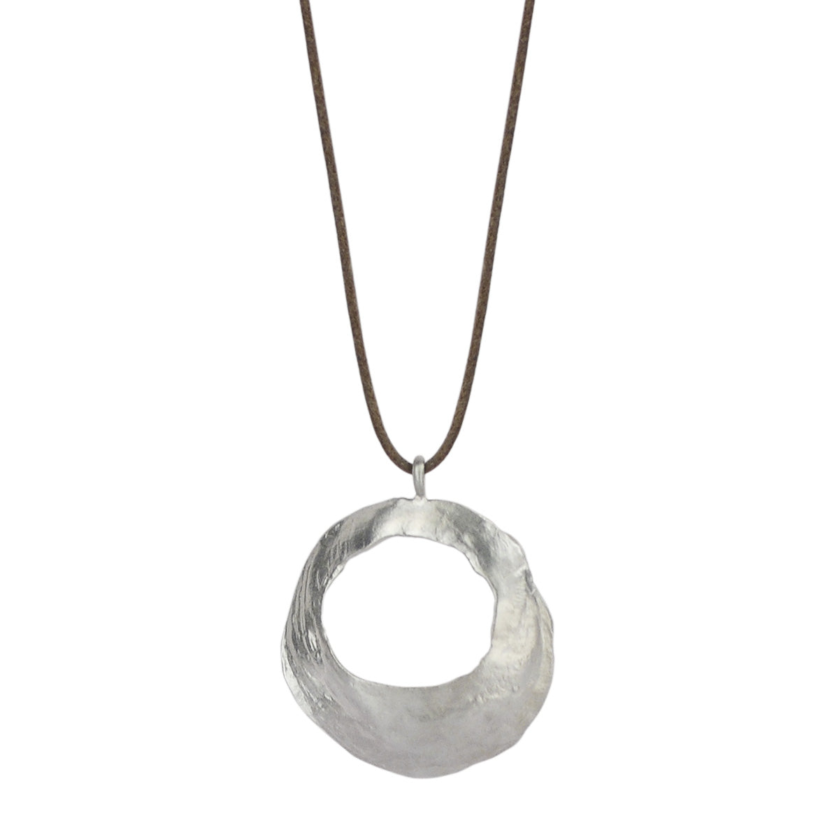 Sterling Silver Round Open Shell Pendant on Natural Cord