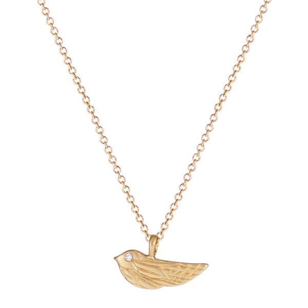 10K Gold Engraved Bird Pendant with Diamond