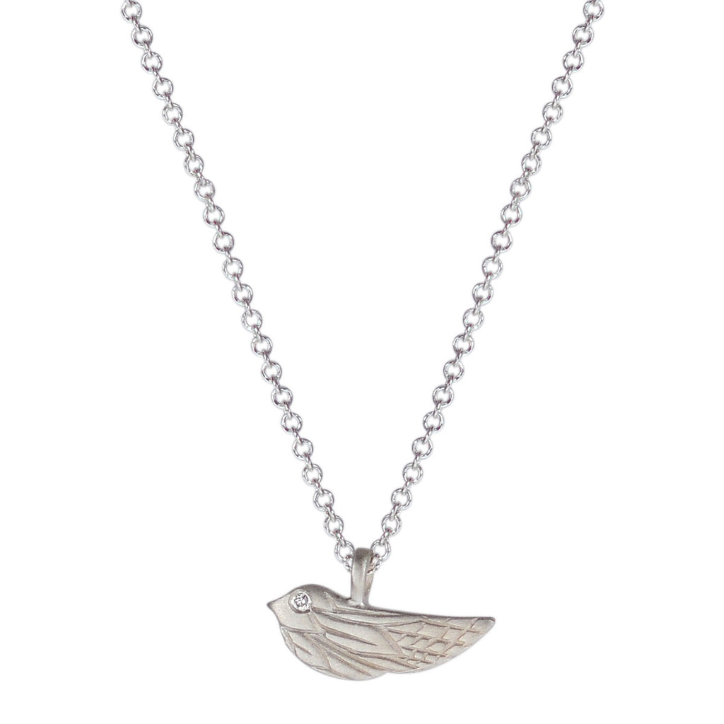 Sterling Silver Engraved Bird Pendant with Diamond