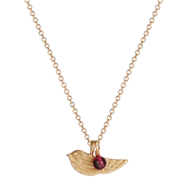 10K Gold Engraved Bird Pendant with Garnet Bead