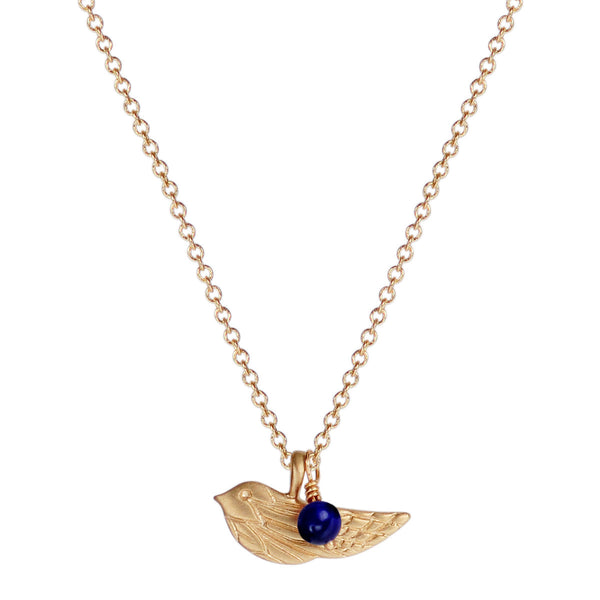 10K Gold Engraved Bird Pendant with Lapis Bead