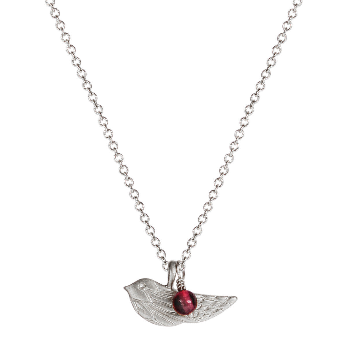 Sterling Silver Engraved Bird Pendant with Garnet Bead