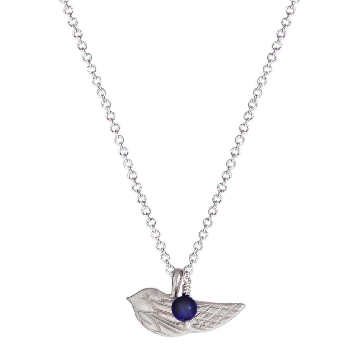 Sterling Silver Engraved Bird Pendant with Lapis Bead