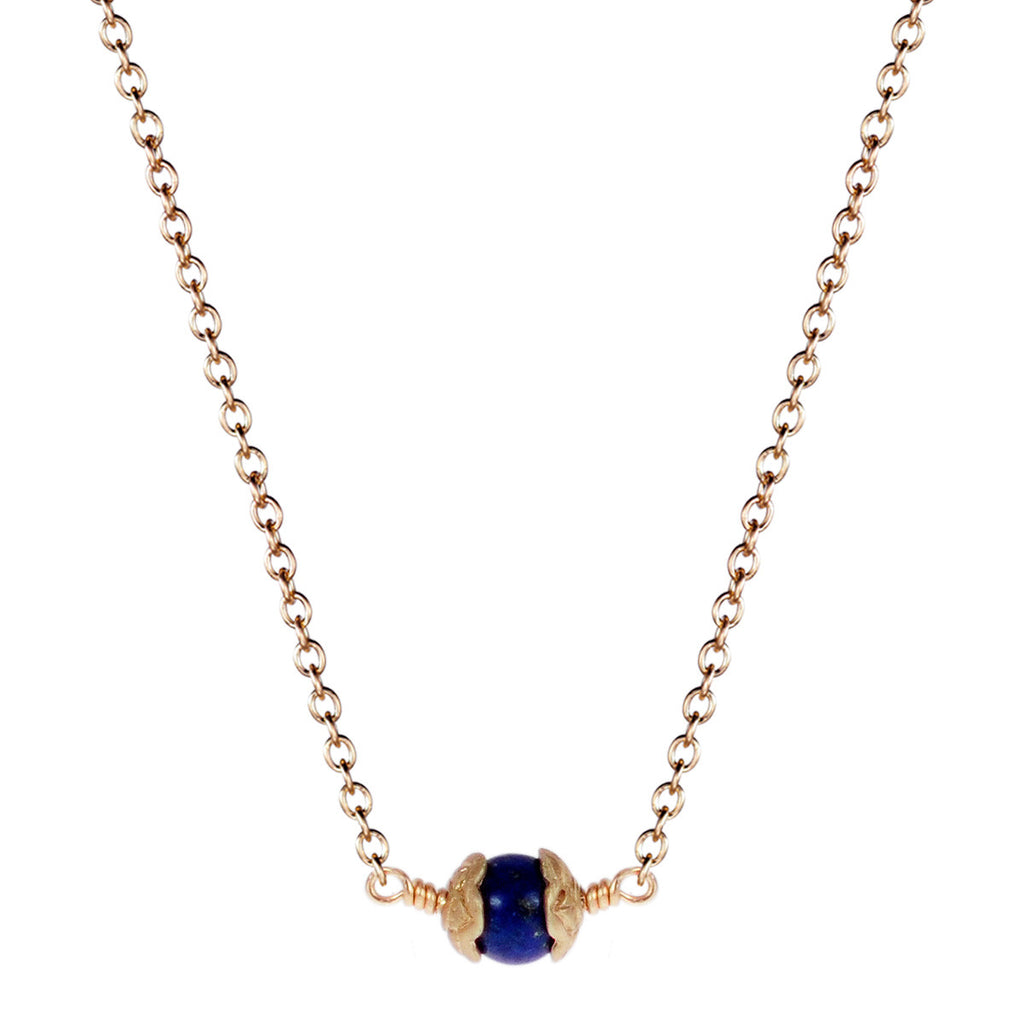 10K Gold Single Flower Capped Pendant with Lapis