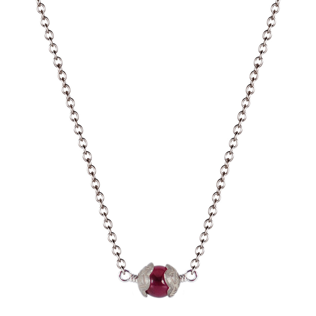 Sterling Silver Single Flower Capped Pendant with Garnet