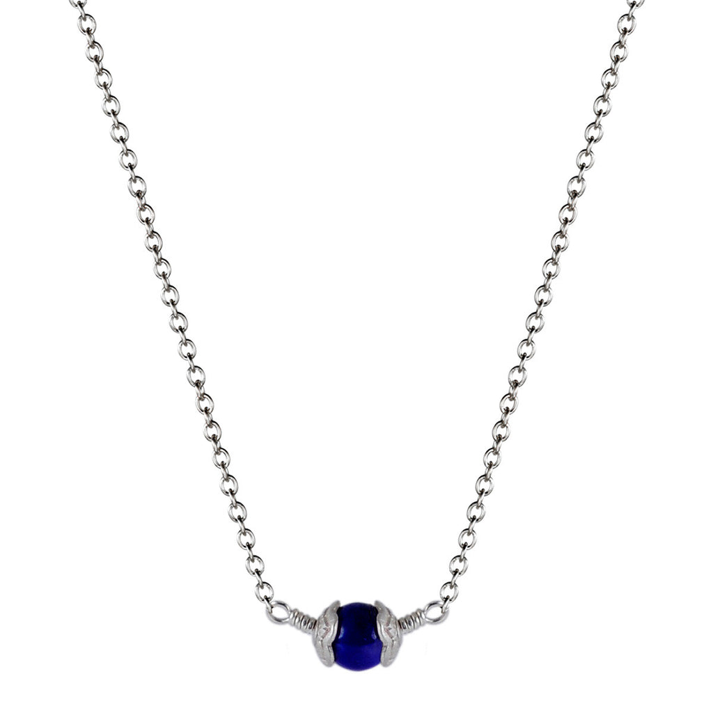 Sterling Silver Single Flower Capped Pendant with Lapis