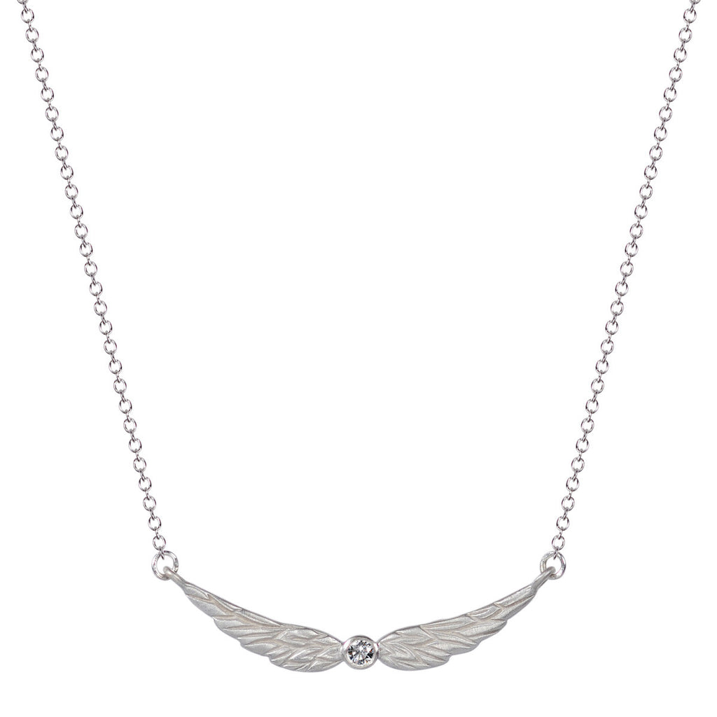 Sterling Silver Double Angel Wing Pendant with Diamond