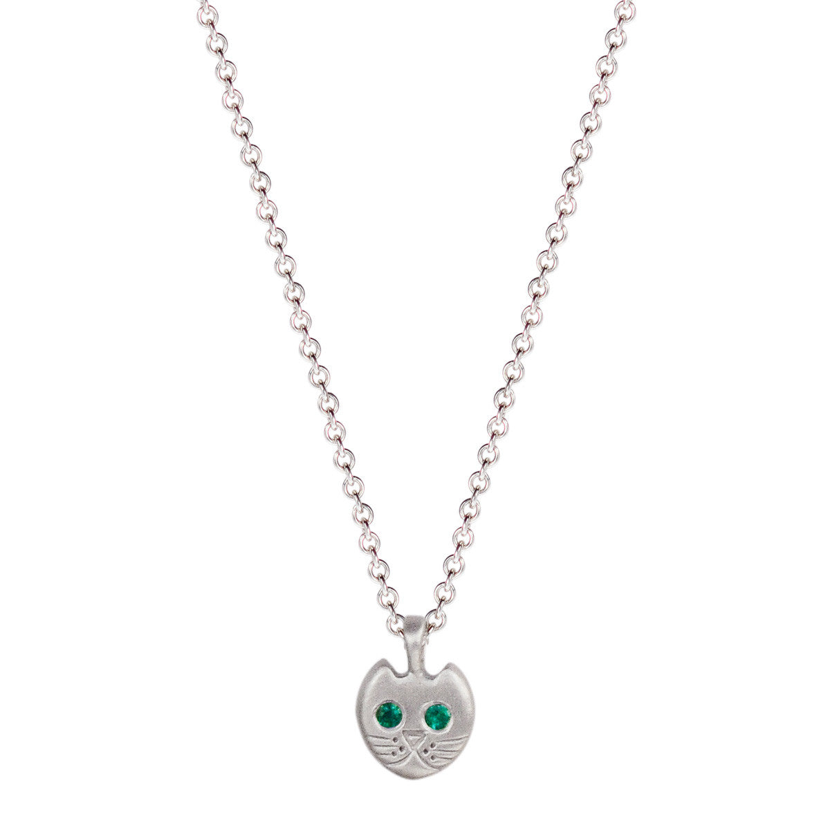 Sterling Silver Tiny Kitten Pendant with Emerald Eyes