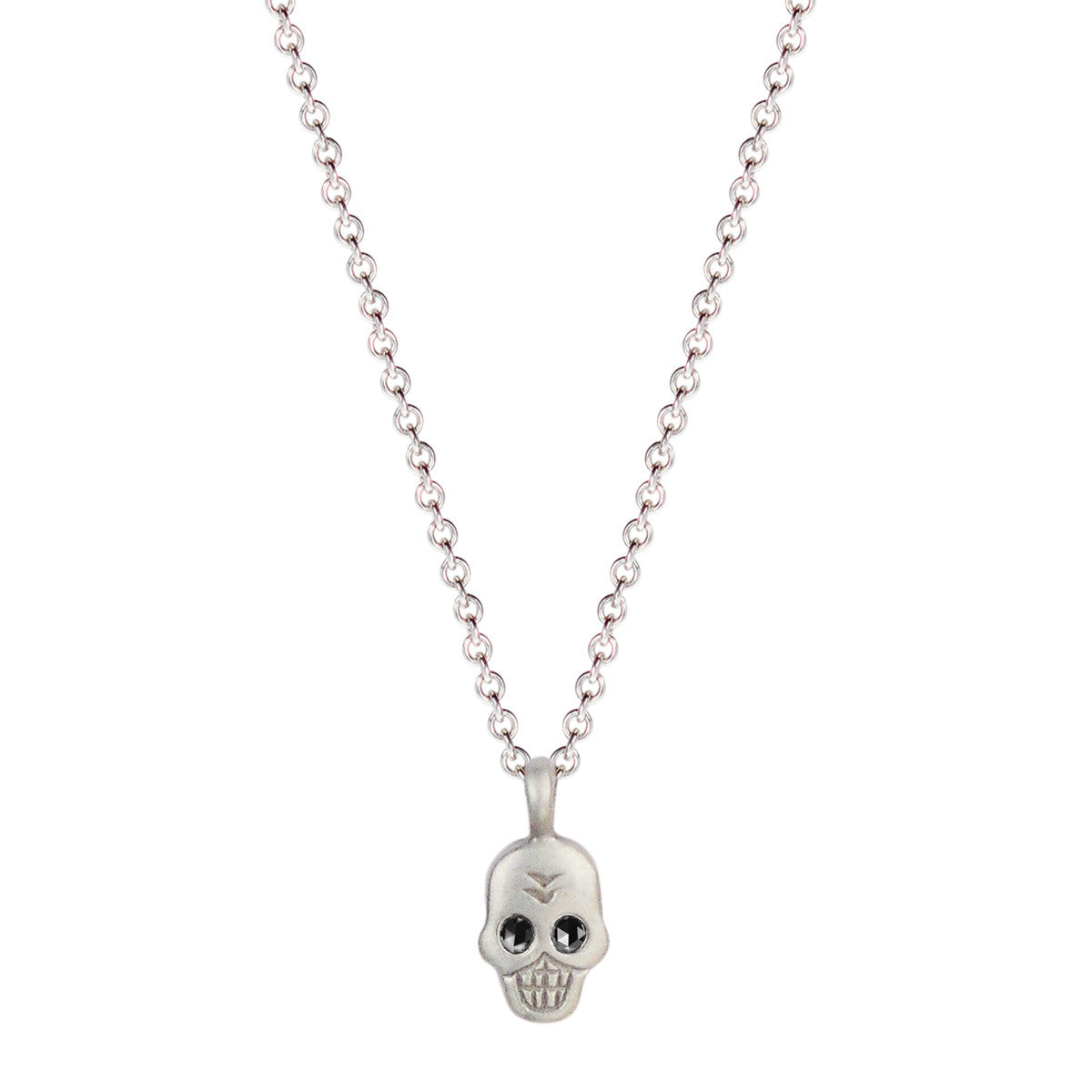 Sterling Silver Mini Skull Pendant with Black Diamond Eyes