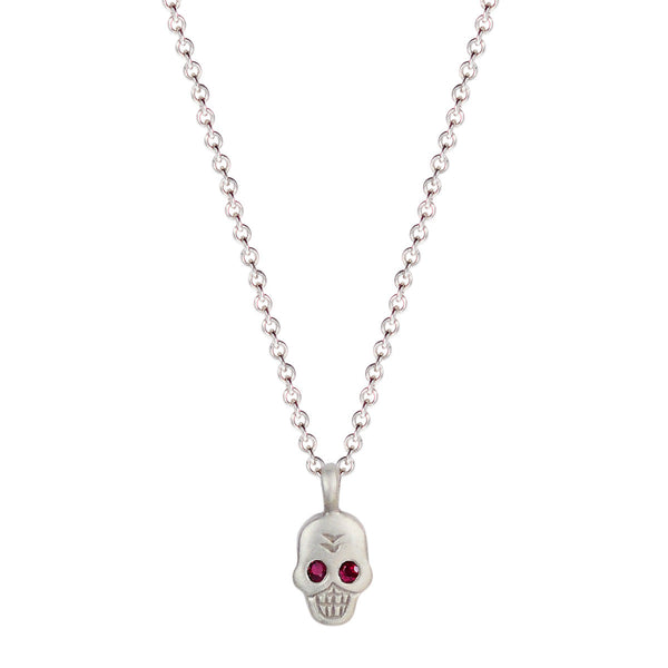 Sterling Silver Mini Skull Pendant with Ruby Eyes