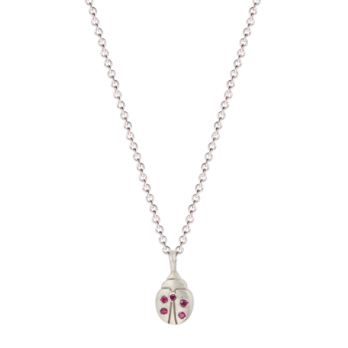 Sterling Silver Tiny Ladybug Pendant with Rubies