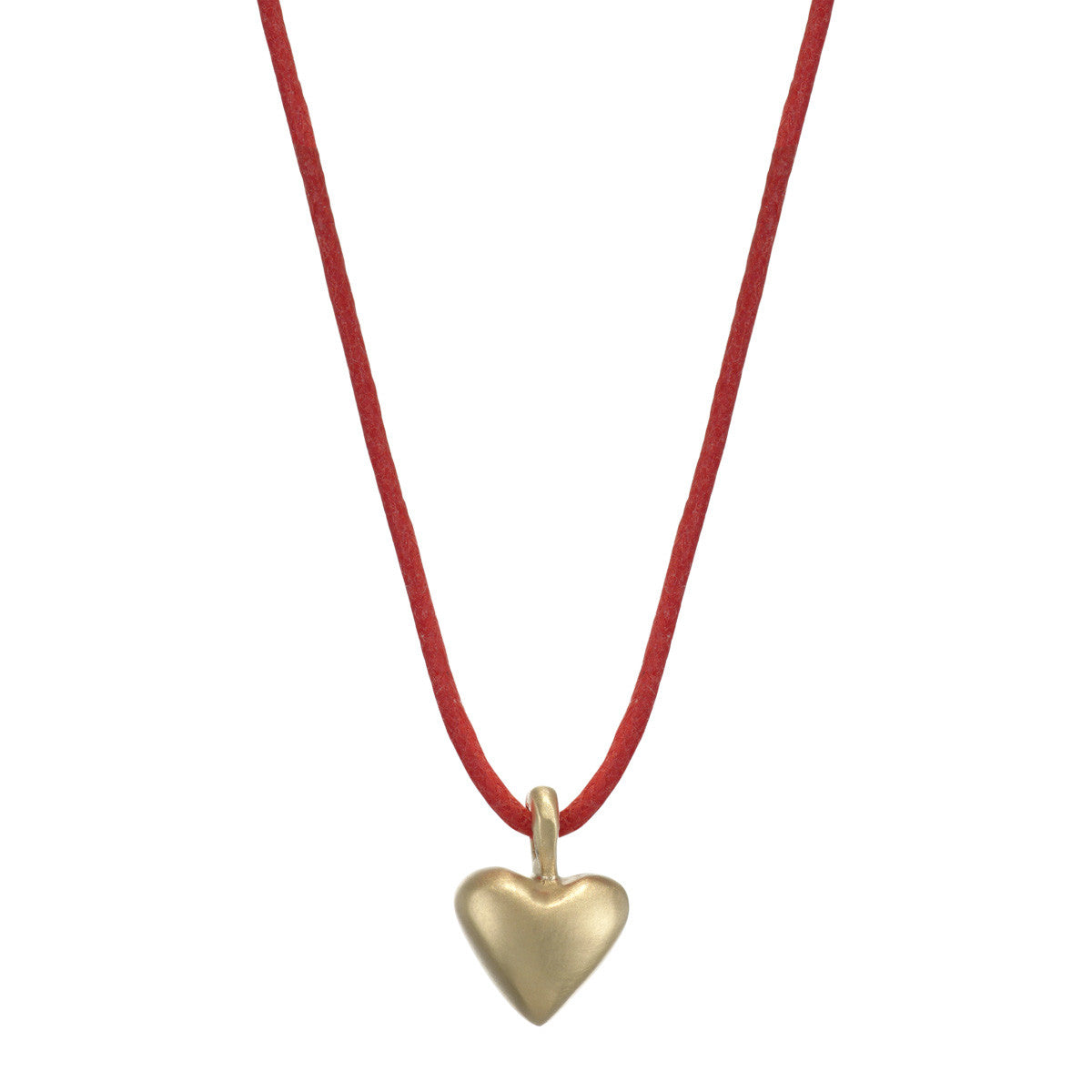 10K Gold Medium Heart Pendant on Red Cord