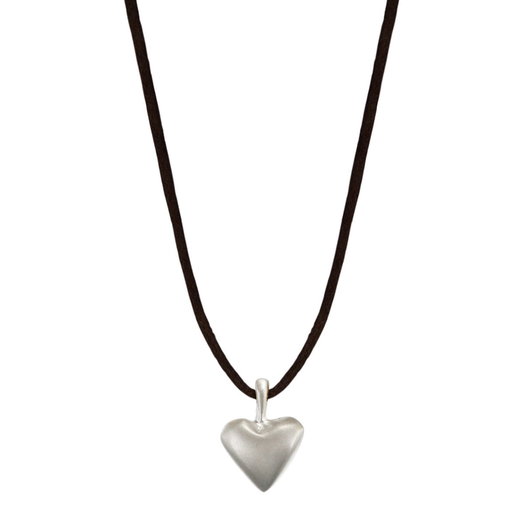 Sterling Silver Medium Heart Pendant on Black Cord