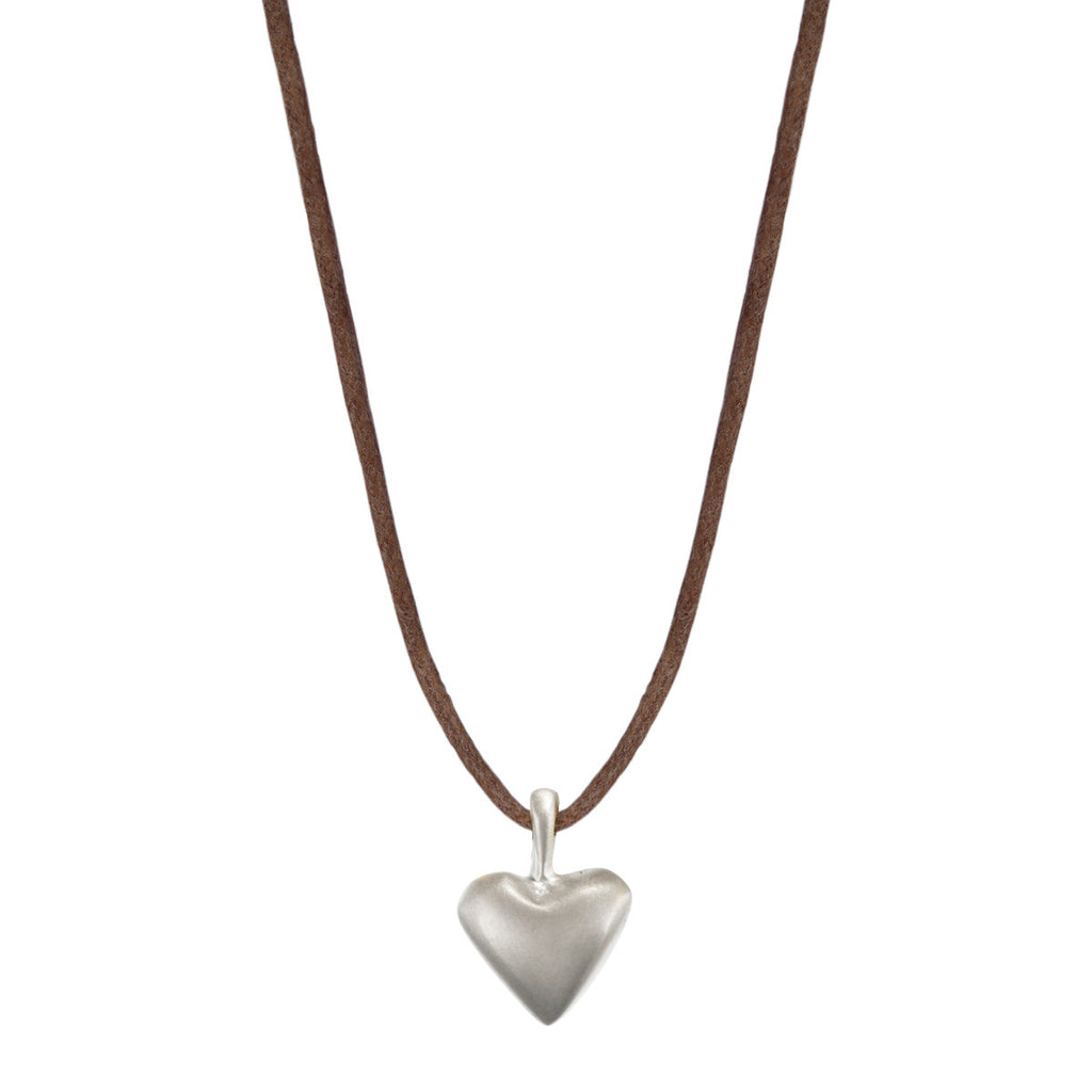 Sterling Silver Medium Heart Pendant on Natural Cord