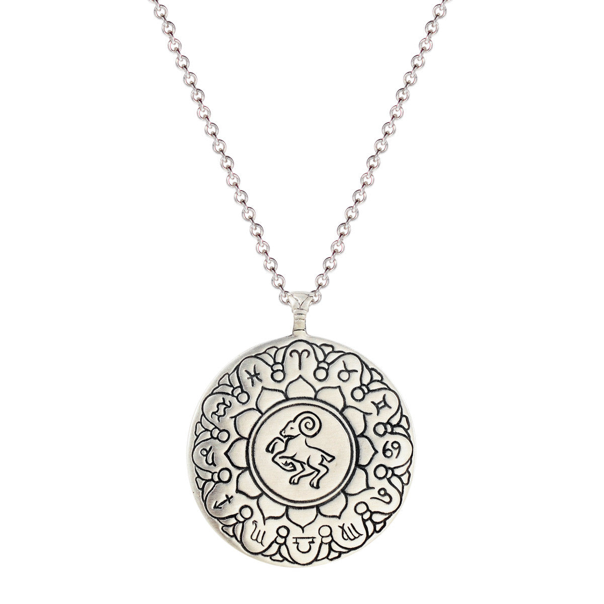 Sterling Silver Large Aries Astrology Pendant