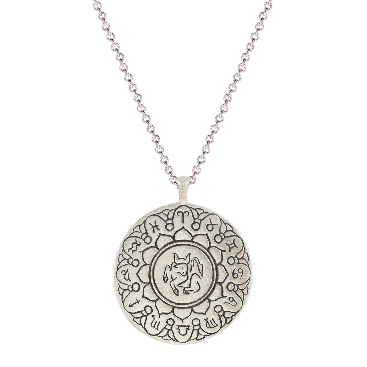 Sterling Silver Large Taurus Astrology Pendant