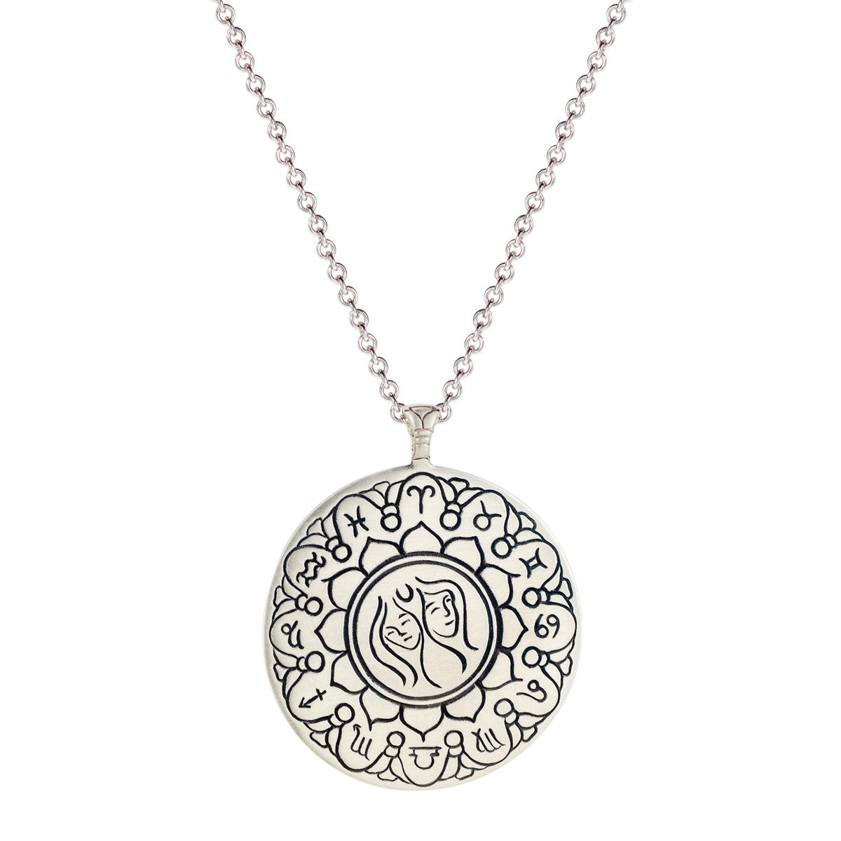 Sterling Silver Large Gemini Astrology Pendant