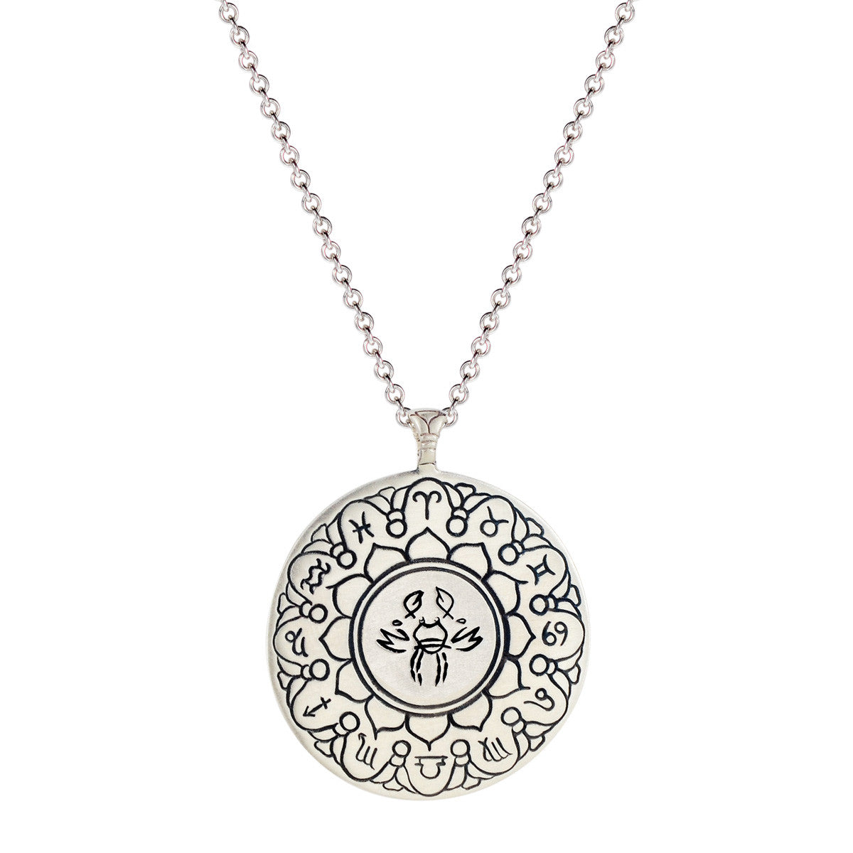 Sterling Silver Large Cancer Astrology Pendant