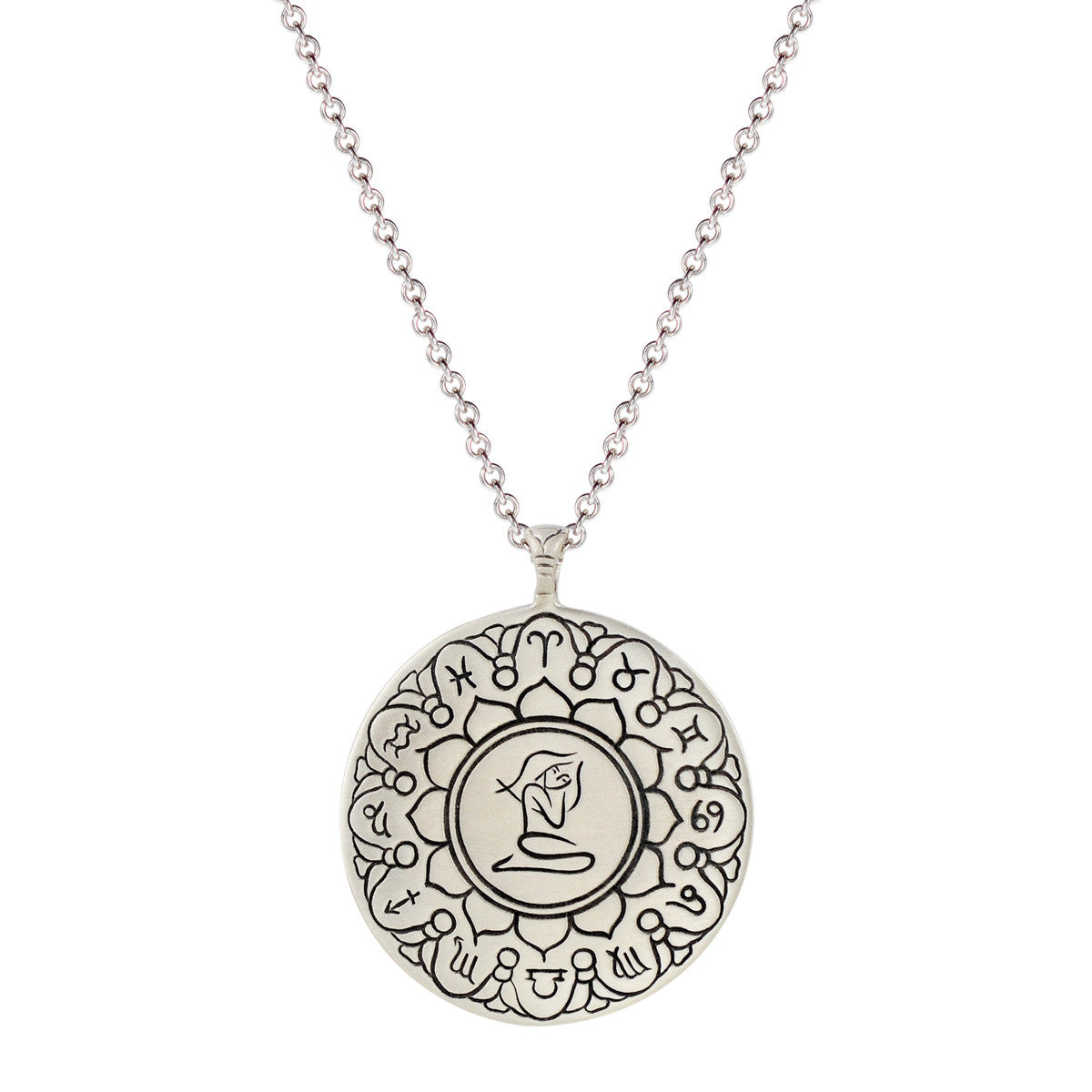 Sterling Silver Large Virgo Astrology Pendant